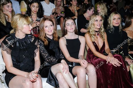 Haley Bennett, from left, Julianne Moore, Liv Freundlich, Rosie Huntington-Whitely, and Annabelle Wallis at the Ralph Lauren September 2016 collection fashion show at the Ralph Lauren Flagship Store, in New York