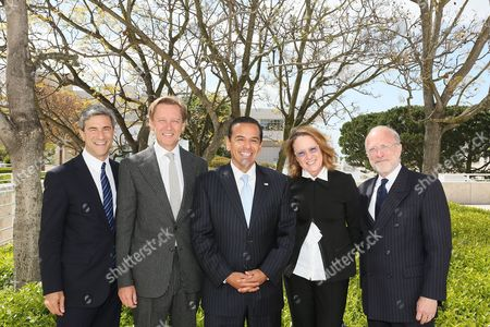 From left, Michael Govan, CEO Los Angeles County Museum of Art and Wallis Annenberg Director; Timothy Potts, Director, J. Paul Getty Museum; Antonio R. Villaraigosa, Los Angeles Mayor; Ann Philbin, Director, Hammer Museum and Jim Cuno, President and CEO, J. Paul Getty Trust pose during a press conference for Pacific Standard Time Presents: Modern Architecture in L.A. launch and press preview for Overdrive: L.A. Constructs the Future, 1940-1990 and In Focus: Ed Ruscha held at the Getty Center on in Los Angeles, California
