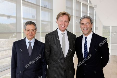 From left, Jeffrey Deitch, Director, MOCA; Timothy Potts, Director, J. Paul Getty Museum and Michael Govan, CEO Los Angeles County Museum of Art and Wallis Annenberg Director pose during a press conference for Pacific Standard Time Presents: Modern Architecture in L.A. launch and press preview for Overdrive: L.A. Constructs the Future, 1940-1990 and In Focus: Ed Ruscha held at the Getty Center on in Los Angeles, California