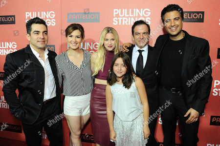 "From left, Omar Chaparro, Aurora Paile, Laura Ramsey, Renata Ybarra, Pitipol Ybarra and Jaime Camil arrive at Pantelion Films' ""Pulling Strings"" Los Angeles premiere at Regal Cinemas L.A. Live on in Los Angeles"