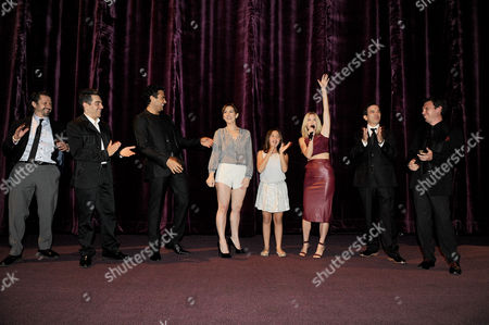 "From left, Aureo Baqueiro, Omar Chaparro, Jaime Camil, Aurora Papile, Renata Ybarra, Laura Ramsey, Pitipol Ybarra and Leo Zimbron attend Pantelion Films' ""Pulling Strings"" Los Angeles premiere at Regal Cinemas L.A. Live on in Los Angeles"
