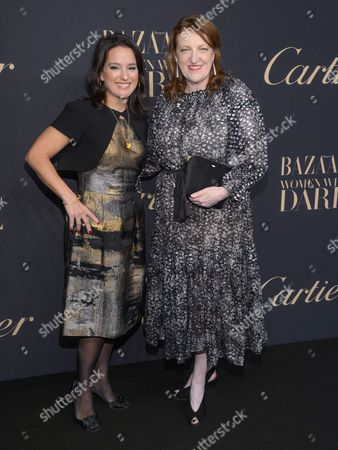 Mercedes Abramo, Cartier North America president and CEO, left, and Harper's Bazaar editor-in- chief Glenda Bailey attend the Panthere de Cartier Collection dinner & party at Skylight Clarkson Studios, in New York