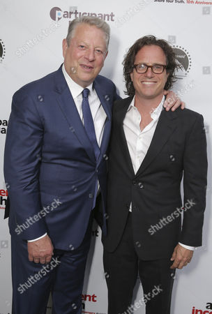 "Former Vice President Al Gore and Exec. Producer/Director Davis Guggenheim seen at Participant Media 10 Year Anniversary Celebration of ""An Inconvenient Truth"", in Los Angeles, CA"