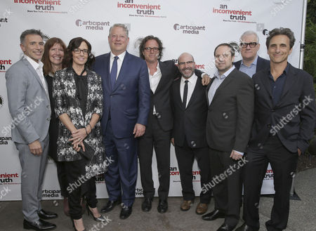 "Ricky Strauss, Exec. Producer Diane Weyermann, Co-Producer Lesley Chilcott, Former Vice President Al Gore, Exec. Producer/Director Davis Guggenheim, Producer Scott Z. Burns, Founder & Chairman - Participant Media and Exec. Producer Jeff Skoll, CEO - Participant Media David Linde and Producer Lawrence Bender seen at Participant Media 10 Year Anniversary Celebration of ""An Inconvenient Truth"", in Los Angeles, CA"
