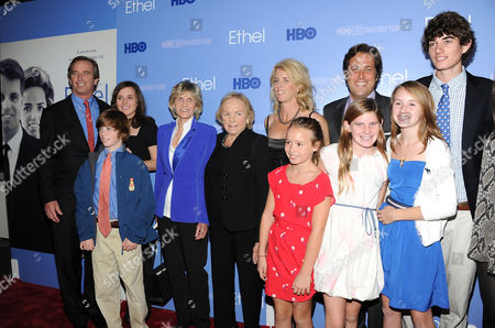 """From left, Robert F. Kennedy Jr, Kyra Kennedy, Jean Kennedy Smith, Ethel Kennedy, Rory Kennedy, Mark Bailey, Conor Kennedy attend the premiere of the HBO documentary """"Ethel"""" at the Time Warner Center on in New York"""