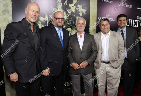 Producer Simon Oakes, Director John Pogue, Rob Friedman, Co-Chairman of Lionsgate Motion Picture Group, Producer Tobin Armbrust and Jason Constantine, President of Acquisitions and Co-Productions of Lionsgate Motion Picture Group seen at the Los Angeles Premiere of Lionsgate's 'The Quiet Ones', in Los Angeles