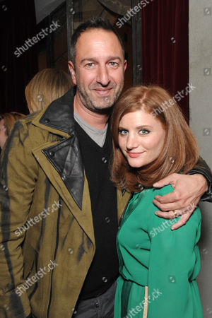Christos Garkinos, left, and THR's Erin Weinger attend the Pret-A-Reporter at the Ace Hotel presented by Samsung Galaxy, on in Los Angeles