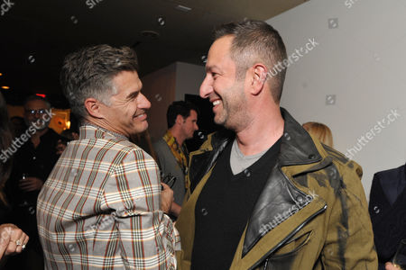 THR's Eric Rutherfor, left, and Christos Garkinos attend the Pret-A-Reporter at the Ace Hotel presented by Samsung Galaxy, on in Los Angeles