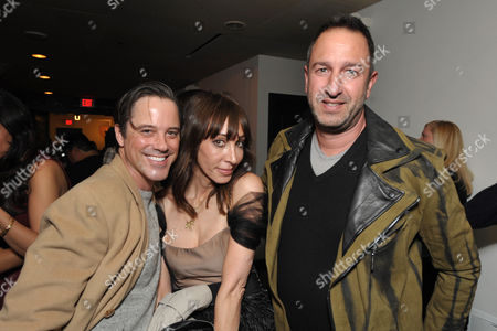 Stock Photo of From left, Bryan Rabin, Merle Ginsberg and Christos Garkinos attend the Pret-A-Reporter at the Ace Hotel presented by Samsung Galaxy, on in Los Angeles