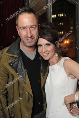 Christos Garkinos, left, and Janie Bryant attend the Pret-A-Reporter at the Ace Hotel presented by Samsung Galaxy, on in Los Angeles