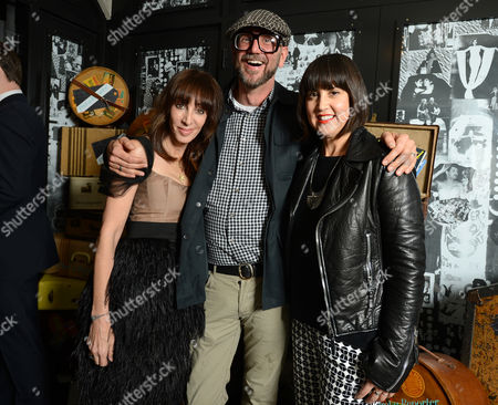 From left, THR's Merle Ginsberg, Jonathan Skow, and Trina Turk attend the Pret-A-Reporter at the Ace Hotel presented by Samsung Galaxy, on in Los Angeles