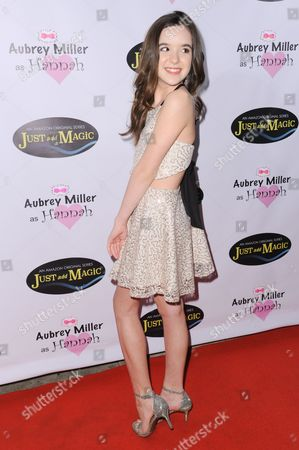"""Actress Aubrey K. Miller attends a private screening of """"Just Add Magic"""" held at Raleigh Studios Charlie Chaplin Theater, in Los Angeles"""