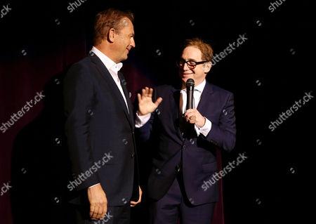 "Kevin Costner and Director/Writer Mike Binder seen at Relativity Studios Los Angeles Premiere of ""Black or White"" held at Regal Cinemas, in Los Angeles"