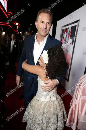 "Kevin Costner and Jillian Estell seen at Relativity Studios Los Angeles Premiere of ""Black or White"" held at Regal Cinemas, in Los Angeles"