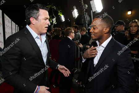 "Tucker Tooley, President of Relativity Media and Anthony Mackie seen at Relativity Studios Los Angeles Premiere of ""Black or White"" held at Regal Cinemas, in Los Angeles"