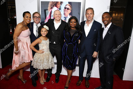 "Paula Newsome, Director/Writer Mike Binder, Jillian Estell, Bill Burr, Octavia Spencer, Kevin Costner and Anthony Mackie seen at Relativity Studios Los Angeles Premiere of ""Black or White"" held at Regal Cinemas, in Los Angeles"