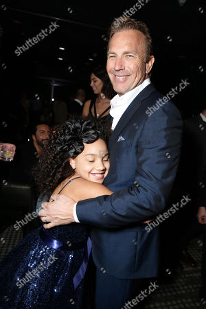 "Jillian Estell and Kevin Costner seen at Relativity Studios Los Angeles Premiere of ""Black or White"" held at Regal Cinemas, in Los Angeles"