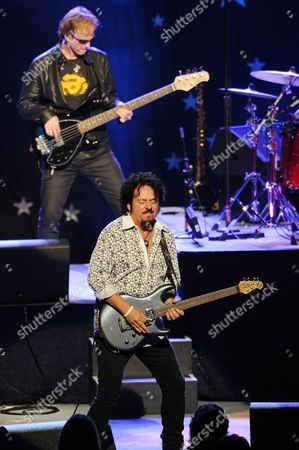 Steve Lukather and Richard Page of Ringo Starr and his All Starr Band performs at the Broward Center for the Performing Arts on in Ft Lauderdale, Florida