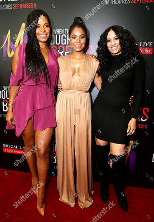 """Sanaa Lathan, from left, Regina Hall, and Melissa De Sousa attend the Screen Gems premiere of """"When the Bough Breaks"""" at Regal Cinemas L.A. Live, in Los Angeles"""