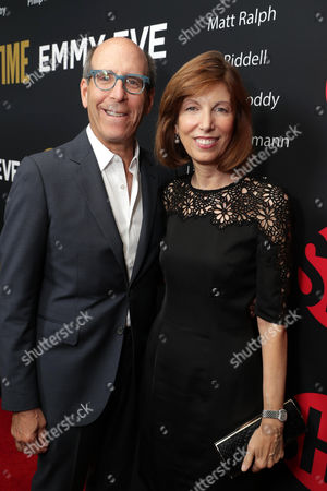 Matthew C. Blank, Chairman or Showtime, and Susan Blank seen at Showtime's Emmy Eve at the Sunset Tower, in Los Angeles