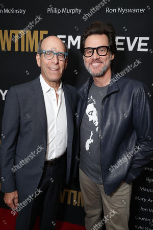 Matthew C. Blank, Chairman or Showtime, and Jim Carrey seen at Showtime's Emmy Eve at the Sunset Tower, in Los Angeles