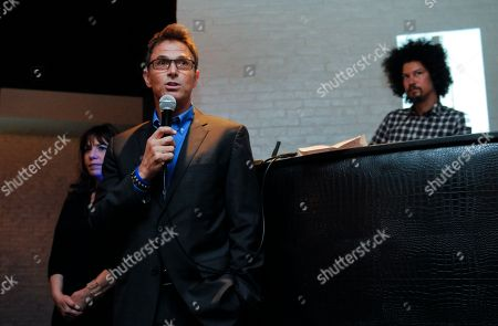 Robin Bronk, COE, The Creative Coalition, left rear, and actor Tim Daly, right, speak at the 'Supper Suite by STK honors The Creative Coalitions Arts in America Benefit Gala' at STK DC on in Washington, D.C. The event is supported by STK DC, Fiji Water, Maestro Dobel Tequila and Blue Moon Brewing. The annual benefit aims to promote the continued support of arts in America by encouraging the entertainment and media industry to dialogue with Capitol Hill