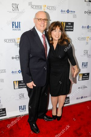 Actor Jeffrey Tambor, left, and Robin Bronk, COE, The Creative Coalition, arrive at the 'Supper Suite by STK honors The Creative Coalitions Arts in America Benefit Gala' at STK DC on in Washington, D.C. The event is supported by STK DC, Fiji Water, Maestro Dobel Tequila and Blue Moon Brewing. The annual benefit aims to promote the continued support of arts in America by encouraging the entertainment and media industry to dialogue with Capitol Hill