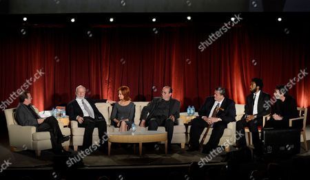 Stock Picture of From left, moderator Pete Hammond, honoree James Burrows, actors Swoosie Kurtz, Louis Mustillo, Billy Gardell, Nyambi Nyambi and prodcuer Chuck Lorre participate in the Academy of Television Arts & Sciences Presents An Evening Honoring James Burrows panel,, at the Leonard H. Goldenson Theater, in North Hollywood, Calif