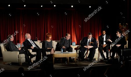 Stock Photo of From left, moderator Pete Hammond, honoree James Burrows, actors Swoosie Kurtz, Louis Mustillo, Billy Gardell, Nyambi Nyambi and prodcuer Chuck Lorre participate in the Academy of Television Arts & Sciences Presents An Evening Honoring James Burrows panel,, at the Leonard H. Goldenson Theater, in North Hollywood, Calif