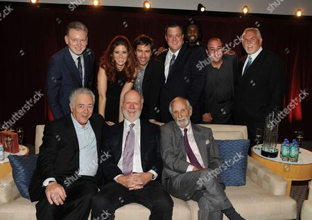 From left top row, former president, NBC Entertainment Warren Littlefield, actors Debra Messing, Eric McCormack, Billy Gardell, Nyambi Nyambi, Louis Mustillo and John Ratzenberger, from bottom left, Bob Broder, honoree James Burrows and director Jay Sandrich attend the Academy of Television Arts & Sciences Presents An Evening Honoring James Burrows,, at the Leonard H. Goldenson Theater, in North Hollywood, Calif
