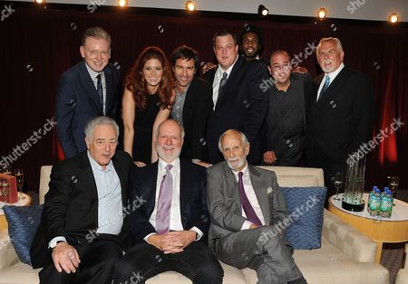 Stock Image of From left top row, former president, NBC Entertainment Warren Littlefield, actors Debra Messing, Eric McCormack, Billy Gardell, Nyambi Nyambi, Louis Mustillo and John Ratzenberger, from bottom left, Bob Broder, honoree James Burrows and director Jay Sandrich attend the Academy of Television Arts & Sciences Presents An Evening Honoring James Burrows,, at the Leonard H. Goldenson Theater, in North Hollywood, Calif