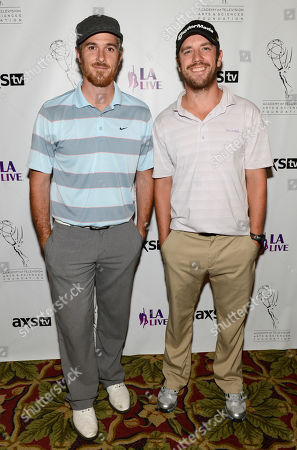 From left, Dave Annable and Bret Harrison arrive at the Academy of Television Arts & Sciences 14th Primetime Emmy Celebrity Tee-Off, on Monday, September, 9, 2013 at Oakmont Country Club in Glendale, CA