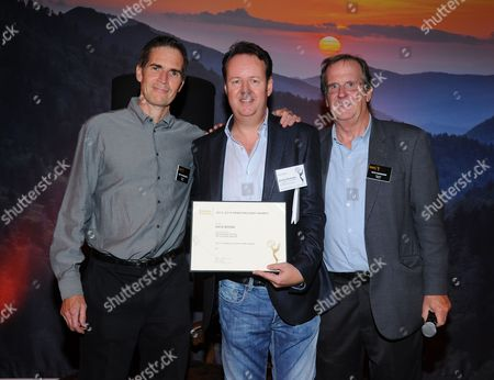 Chip Johannessen, and from left, David Boone and Pete Hammond attend the Television Academy's 66th Emmy Awards Writers Nominee Reception on at the Television Academy in the NoHo Arts District of Los Angeles