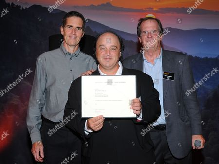Chip Johannessen, and from left, David Wild and Pete Hammond attend the Television Academy's 66th Emmy Awards Writers Nominee Reception on at the Television Academy in the NoHo Arts District of Los Angeles