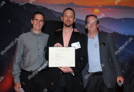 Chip Johannessen, and from left, John Ealer and Pete Hammond attend the Television Academy's 66th Emmy Awards Writers Nominee Reception on at the Television Academy in the NoHo Arts District of Los Angeles