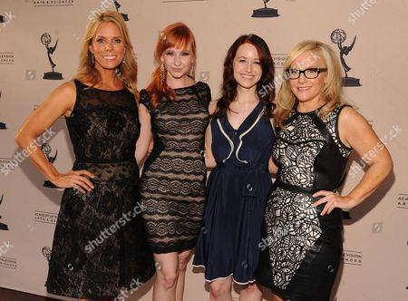 From left, Cheryl Hines, Mary Kate Wiles, Ashley Clements and Rachael Harris attend the Academy of Television Arts & Sciences Interactive Media Peer Groups Celebration for the Interactive Media Nominees,, at the Leonard H. Goldenson Theatre in North Hollywood, Calif