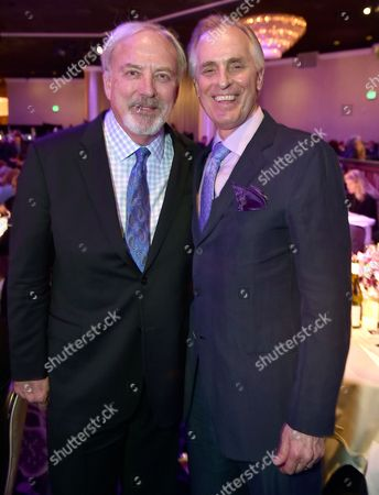 "James Keach and Keith Carradine pose backstage at the 24th annual Alzheimer's Association ""A Night at Sardi's"" at the Beverly Hilton hotel, in Beverly Hills, Calif"