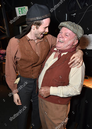 "Tyler Ritter and Jack McGee pose backstage at the 24th annual Alzheimer's Association ""A Night at Sardi's"" at the Beverly Hilton hotel, in Beverly Hills, Calif"