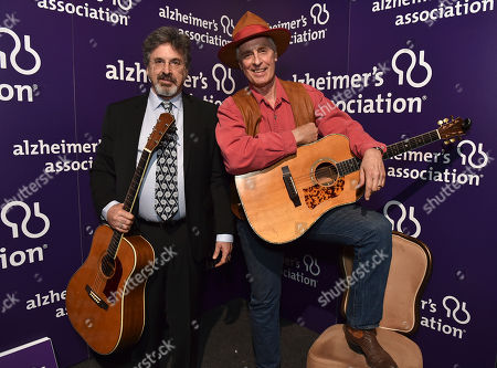 "Robert Carradine and Keith Carradine pose backstage at the 24th annual Alzheimer's Association ""A Night at Sardi's"" at the Beverly Hilton hotel, in Beverly Hills, Calif"