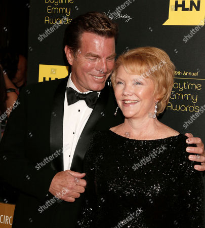Peter Bergman, left, and Erika Slezak arrive at the 39th Annual Daytime Emmy Awards on HLN at the Beverly Hilton Hotel on in Beverly Hills, Calif