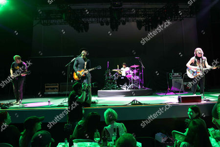 Tom Higgenson, Dave Tirio, Tim Lopez, Mike Retondo and De'Mar Hamilton with Plain White T's performs during The Great Unknown 2015 tour at Chastain Park Amphitheater, in Atlanta