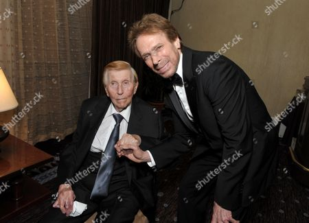 Sumner Redstone, chairman and CEO of Viacom, left, and Jerry Bruckheimer attend the presentation of the 27th Annual American Cinematheque Award to Jerry Bruckheimer, in Beverly Hills, Calif