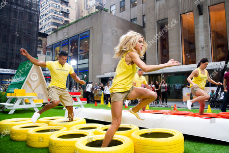 """Moises Ramos, from left, Brooke Mangum, Justin Jackson and Michelle Schexnayder from the cast of the USA Network's """"Summer Camp"""" appear on NBC's """"Today"""" show on in New York"""