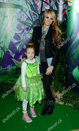 Chloe Simms with daughter Madison at the Tinkerbell and the Secret of the Wings Gala Screening at The Mayfair Hotel on in London