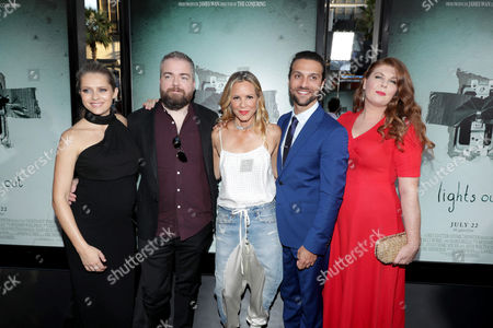 """Teresa Palmer, Writer/Director David F. Sandberg, Maria Bello, Alexander DiPersia and Lotta Losten seen at Warner Bros. Premiere of """"Lights Out"""" at TCL Chinese Theatre, in Los Angeles"""