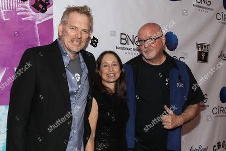 "Stock Picture of From left, director Randall Miller, producer Jody Savin, and creator of Punk magazine John Holmstrom arrive at the west coast special screening of ""CBGB"" at ArcLight Hollywood on in Los Angeles"