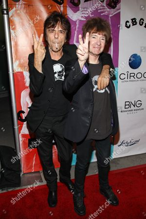 """From left, musician Frank Infante and radio personality Rodney Bingenheimer arrive at the west coast special screening of """"CBGB"""" at ArcLight Hollywood on in Los Angeles"""