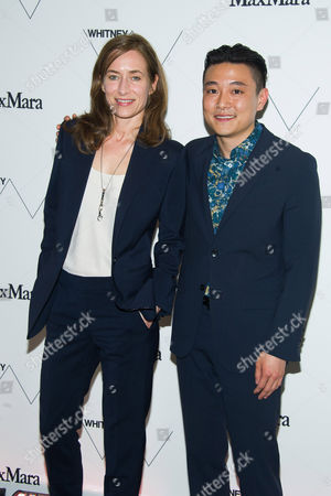 Josephine Meckseper and Cory Nomura attend the Whitney Museum of American Art's opening night party at it's new downtown location, in New York