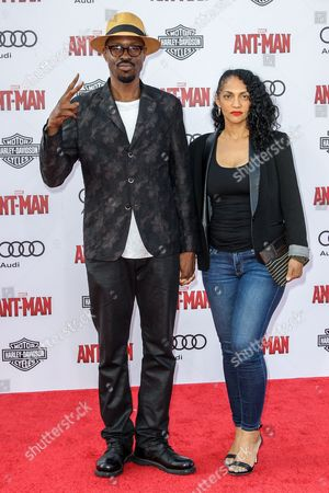 Wood Harris, left, and Rebekah Harris attend the world premiere of Marvel's 'Ant-Man' at the Dolby Theatre on in Los Angeles