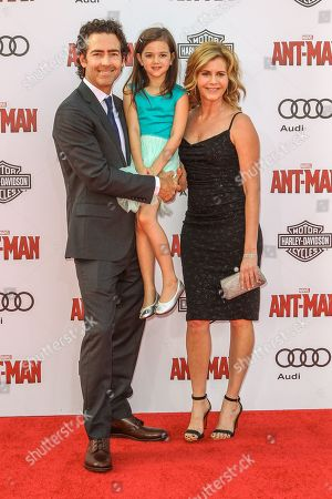 From left, John Fortson, Abby Ryder Fortson, and Christie Lynn Smith attend the world premiere of Marvel's 'Ant-Man' at the Dolby Theatre on in Los Angeles